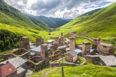 Svaneti mountain towers in Georgia. Landscape of Caucasus