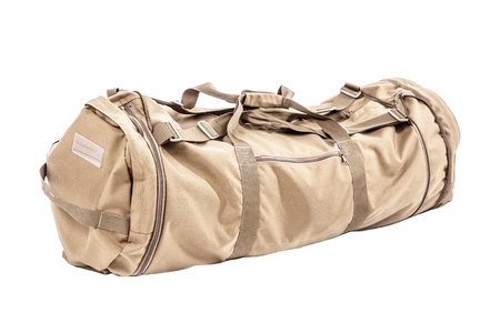 Army gym bag isolated on white studio shot