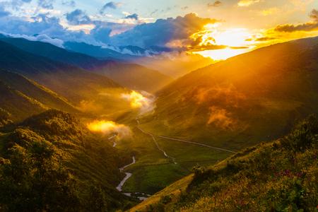 Svaneti mountains in Georgia. Landscape of Caucasus 版權商用圖片