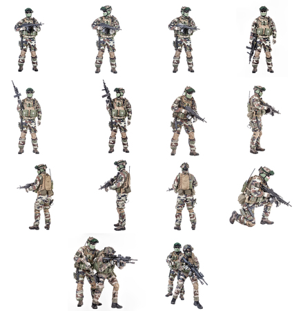 Set of Paratroopers of french first Marine Infantry Parachute Regiment RPIMA studio shot Stok Fotoğraf