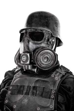 Futuristic soldier gas mask and steel helmet with schmeisser handgun isolated on white studio shot closeup portrait Stock Photo - 91963076