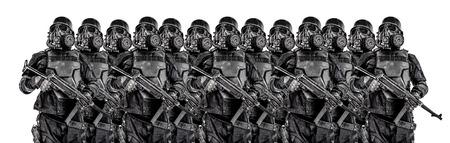 Line of futuristic nazi soldiers in gas mask and steel helmet with schmeisser handgun isolated on white studio shot half length portrait Reklamní fotografie