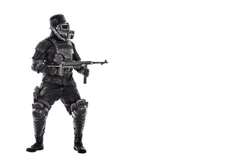 Futuristic  soldier gas mask and steel helmet with schmeisser handgun isolated on white studio shot full body portrait