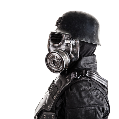 Futuristic nazi soldier gas mask and steel helmet isolated on white studio shot closeup portrait