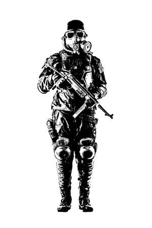 Futuristic nazi soldier gas mask and steel helmet with schmeisser handgun isolated on white studio shot full body portrait Stock Photo