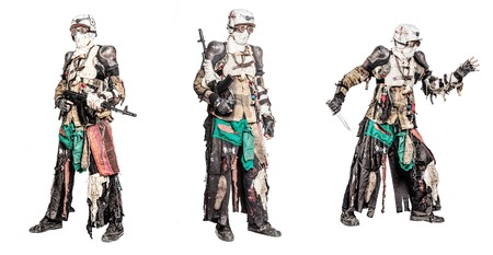 Post apocalyptic survivor creature with homemade weapons set collection Stock Photo - 91116408