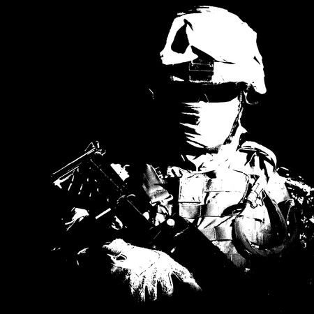 Shoulder portrait of war, military conflict combatant, army special forces soldier, counter terrorist forces fighter armed with rifle in combat helmet, glasses and mask cropped on black background Banque d'images - 101861876