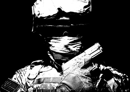 Special operations forces soldier in combat helmet with hidden behind balaclava and dark glasses face posing with sidearm service pistol in hand. Brown tone, high contrast, cropped on black background Фото со стока - 101810623