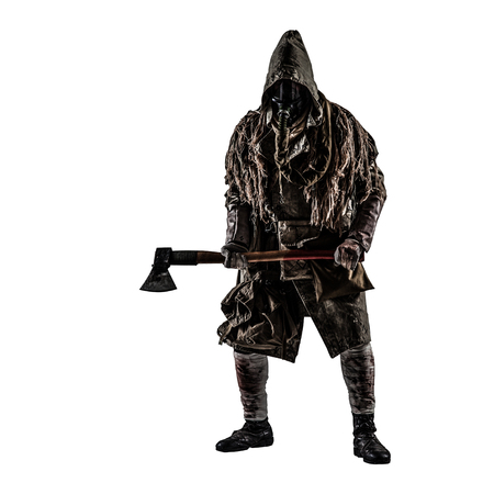 Post apocalypse world survivor, bandit or marauder in gas mask, ghillie cape, ragged clothes with runes, showing beckoning sign while standing with carpenters axe in hand, isolated on white shoot