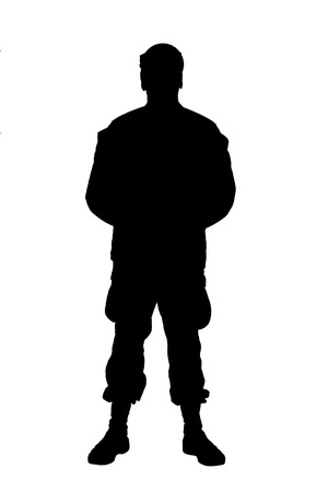 Full length front view studio shoot or army soldier in camouflage uniform and cap, standing in parade rest position with legs on shoulder width and hands behind back silhouette isolated on white background