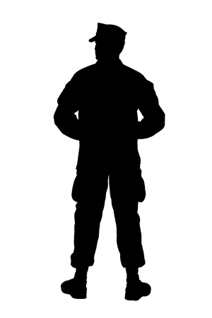 Full length rear view studio shoot or army soldier in camouflage uniform and utility cover, standing in parade rest position with legs on shoulder width and hands behind back silhouette isolated on white