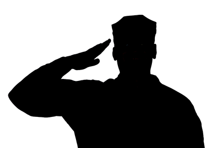 Shoulder silhouette of saluting army soldier in utility cover or cap isolated on white background. Troops hand salute ceremonial greeting, showing respect in army, military funeral honors concept Banco de Imagens - 107006583