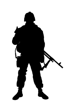 Studio shoot of army, marine machine gunner in camouflage combat uniform and body armor, standing with machine gun, silhouette isolated on white