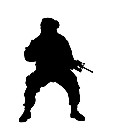 Studio shoot of modern infantry soldier, U.S. marine rifleman in combat uniform, helmet and body armor, screaming and crouching down with assault service rifle in hands silhouette isolated on white background