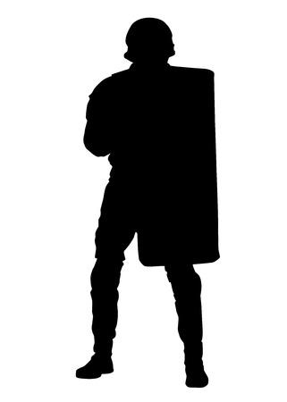 Polizei kontert terroristische taktische Einheit, SWAT-Team, Riot- oder Crowd Control Officer in Helm und Uniform, bedeckt sich mit Anti-Aufruhr- oder ballistischer Schildsilhouette einzeln auf weißem Hintergrund Vektorgrafik