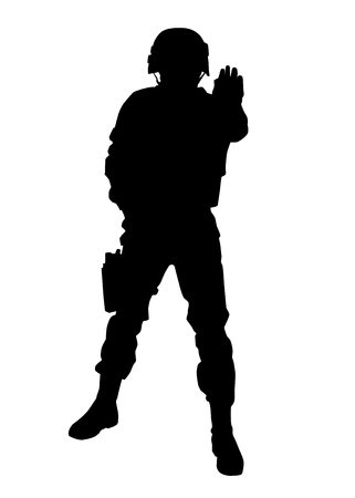 Armed army soldier, special security squad guard, police SWAT officer in uniforms and helmet stretching hand forward and shoving stop hand signal, black vector silhouette isolated on white background