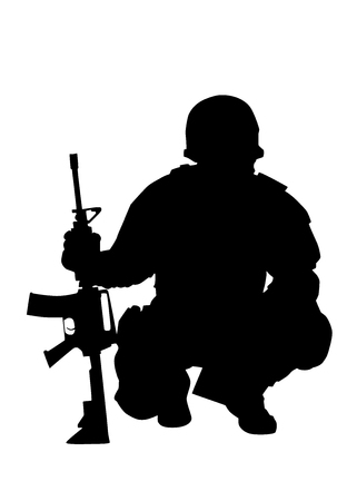 Army or police special forces shooter, SWAT team officer, commando fighter protected with helmet, siting on haunches and leaning on service rifle, black vector silhouette isolated on white background Stock Photo - 114685865
