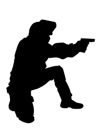 Police special forces officer, SWAT team fighter in anti-riot helmet with flipped up visor, standing on one knee, aiming and shooting with service pistol vector silhouette isolated on white background