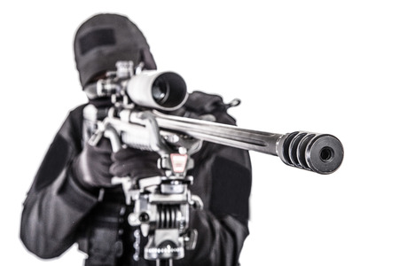 Police special forces sniper aiming with rifle Imagens