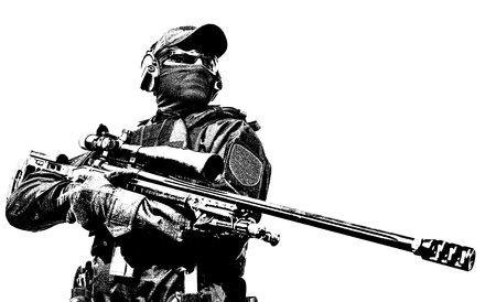 Police tactical group sniper with rifle in hands