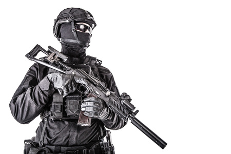 Portrait of police tactical team armed fighter
