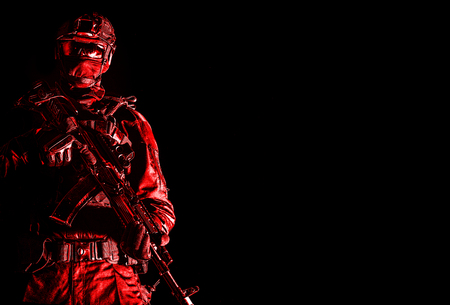 Elite police squad member in tactical ammunition Stock Photo