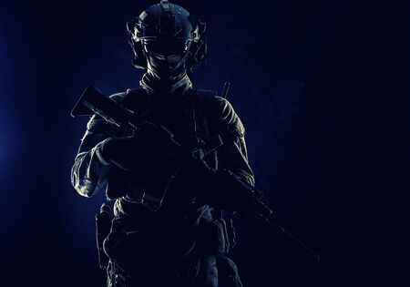 Army special forces soldier low key studio shoot