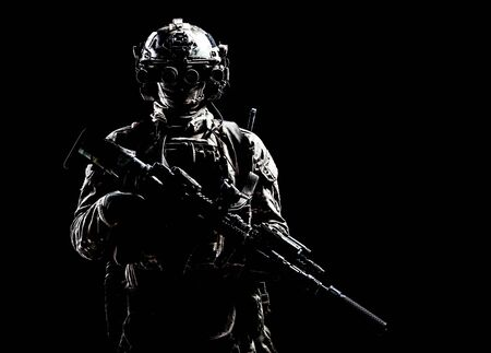 Army Special Forces Shooter Low Key Studio Shooting