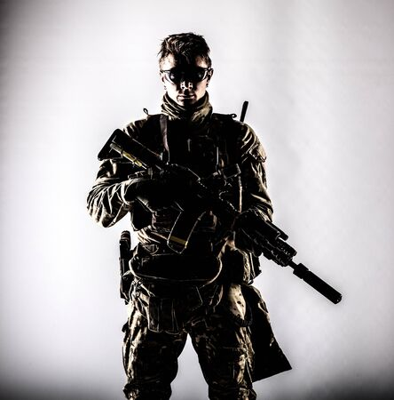 Military company mercenary low key studio portrait 版權商用圖片