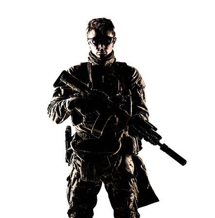 Portrait de studio discret de mercenaire de compagnie militaire Banque d'images