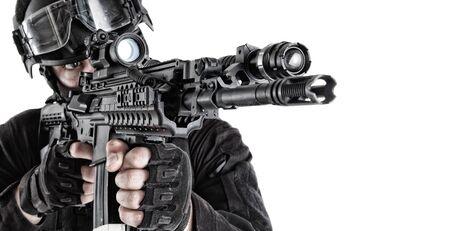 Counter terrorism team fighter close up portrait