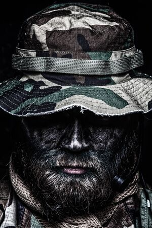 Commando soldier in boonie hat close up portrait Stock Photo