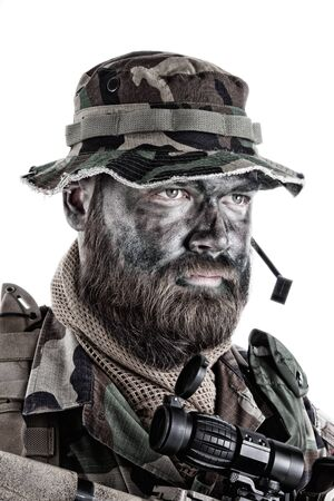 Commando soldier isolated shoulder studio portrait white