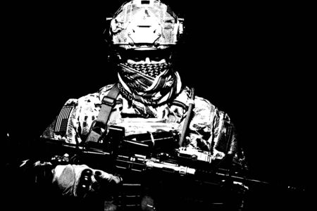 Armed marine rider portrait with hidden face Stock Photo