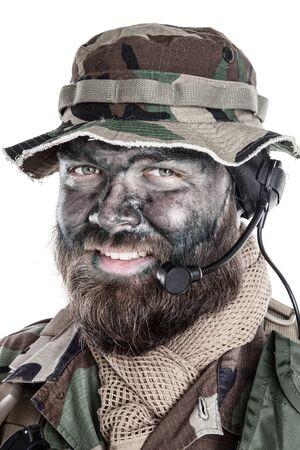 Commando soldier isolated shoulder studio portrait white