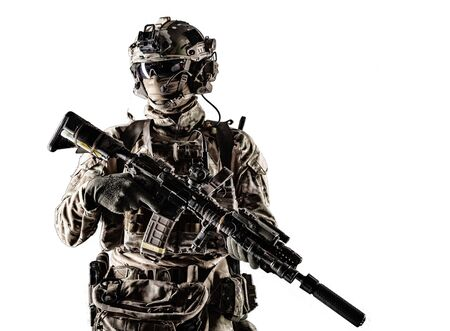 Modern army armed ranger Stock Photo