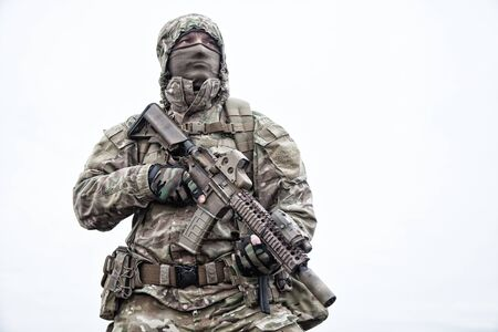 Portrait of modern army infantryman on march Stock Photo