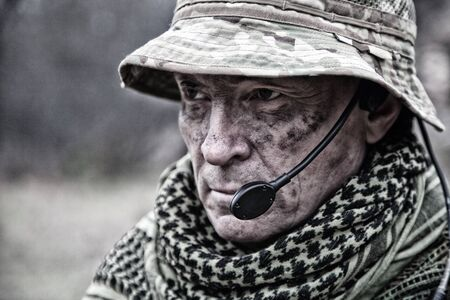 Experienced military army soldier commander close-up portrait