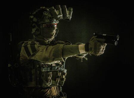 Counter terrorist squad fighter soldier aiming pistol