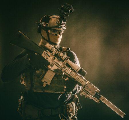 Counter terrorist squad sniper soldier studio shoot Stock Photo