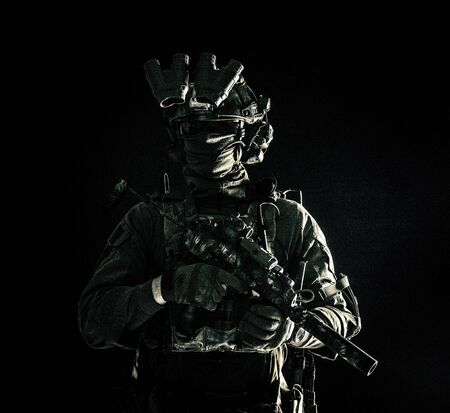 Special operations forces soldier low key portrait Stok Fotoğraf