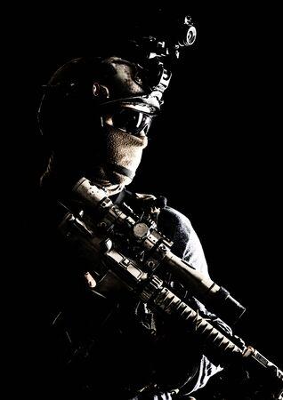 Army elite troops sniper low key studio portrait