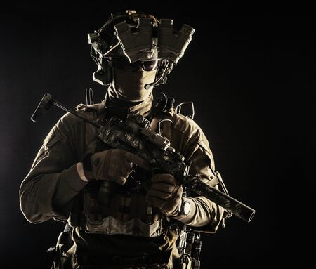 Military security service shooter soldier studio portrait