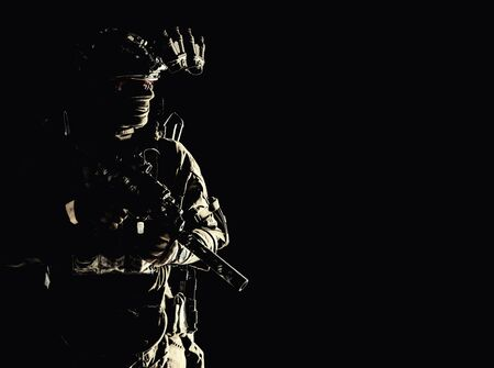 Special operations forces soldier low key portrait Stock Photo