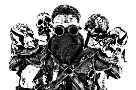 Survived in nuclear disaster mutant bandit or underground human creature, wearing rags and human skulls on shoulders Standard-Bild