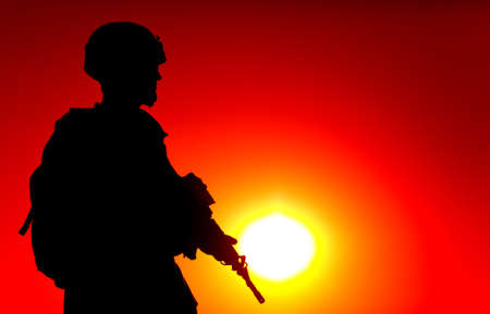 Silhouette of army special forces rifleman, Marines, coast guard or anti-terrorist squad soldier in ammunition and helmet, armed service rifle, standing on ocean shore, patrolling seacoast at sunset