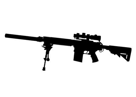 Vector image silhouette of modern military sniper rifle symbol illustration isolated on white background. Army and police weapons.