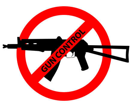 Caution sign about gun control. Restricted area, guns banned. Vector image silhouette, illustration isolated on white background.