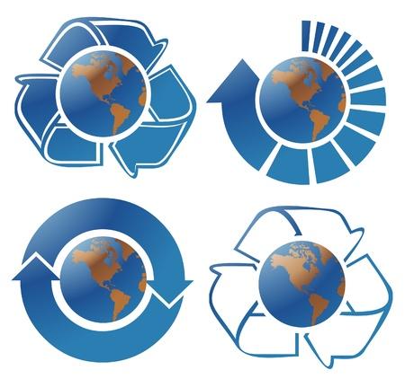 ozone friendly: Ecology globes