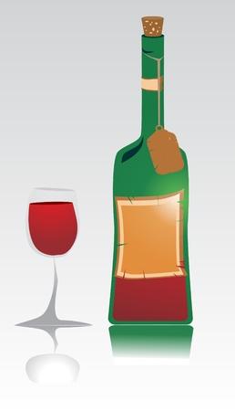 red wine bottle: Vidrio y botella de vino tinto